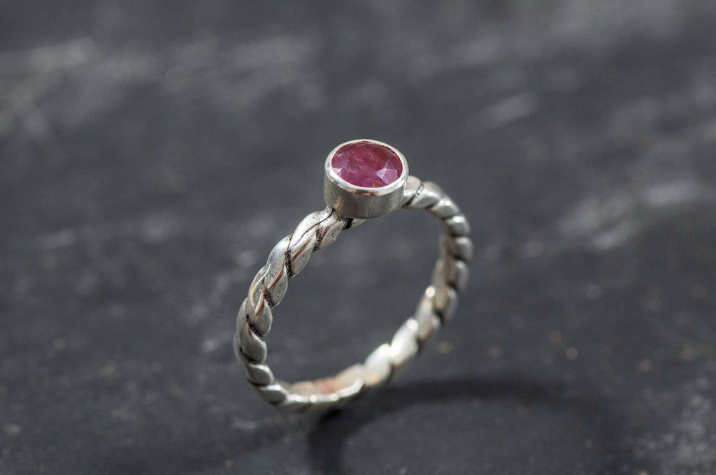 Natural Ruby Ring, Natural Ruby, Ruby Stackable Ring, Ruby Promise Ring, July Birthstone, Red Ring, Silver Promise Ring, Vintage Rings, Ruby