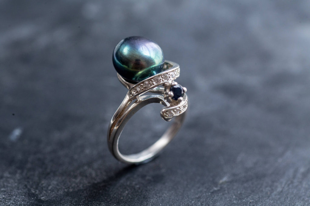 Black Pearl Ring, Natural Pearl, Pearl Ring, June Birthstone, Vintage Rings, Vintage Pearl Ring, Black Pearl, Solid Silver Ring, CZ Diamonds