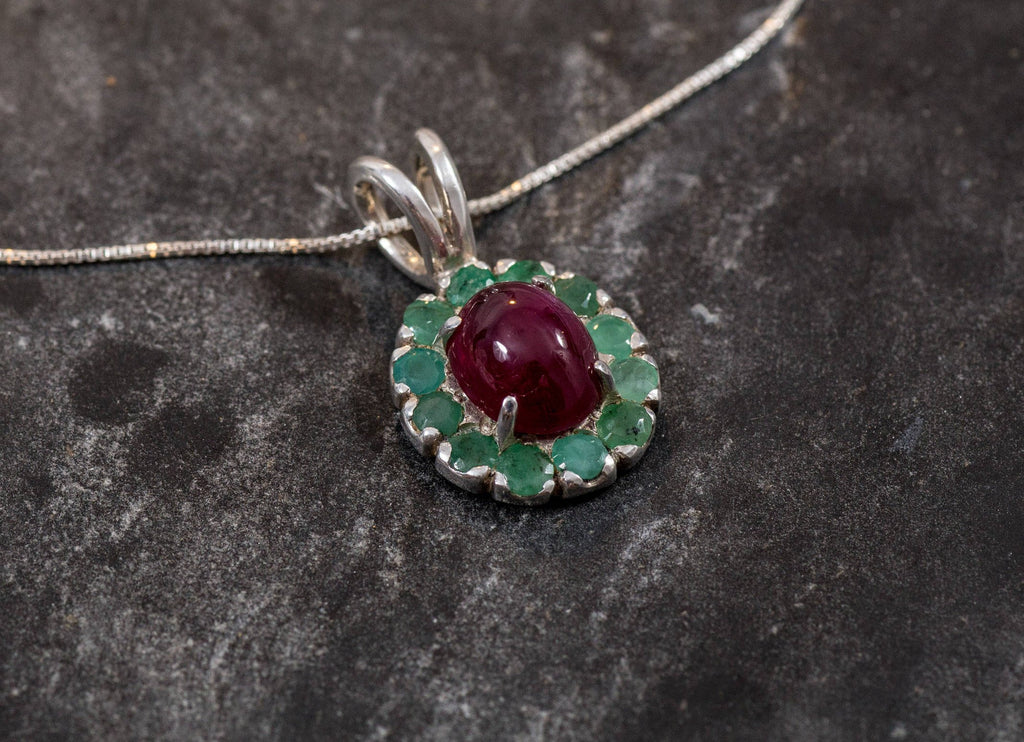 Ruby Pendant, Emerald Pendant, Natural Ruby, Natural Emerald, Vintage Pendant, May Birthstone, July Birthstone, Victorian Pendant, Silver