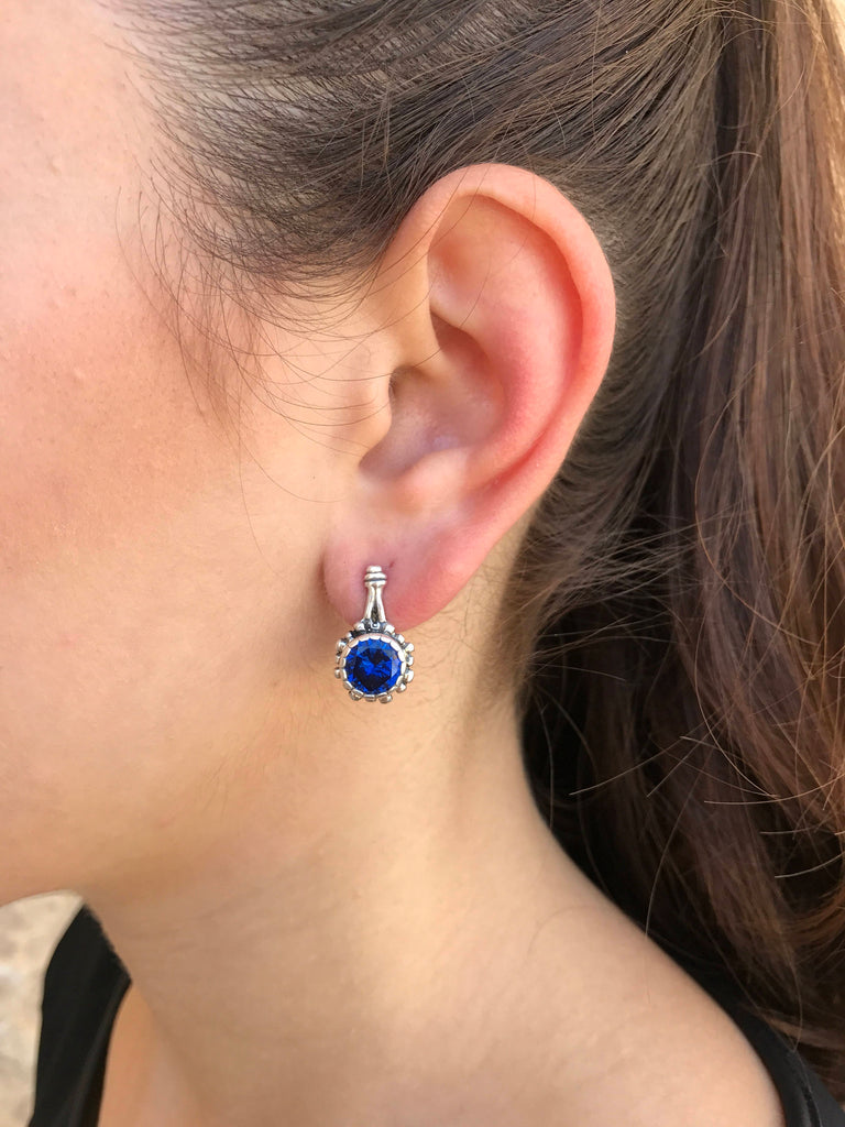 Sapphire Earrings, Created Sapphire, Blue Earrings, Vintage Earrings, Antique Earrings, Silver Earrings, Deep Blue Earrings, Blue Sapphire