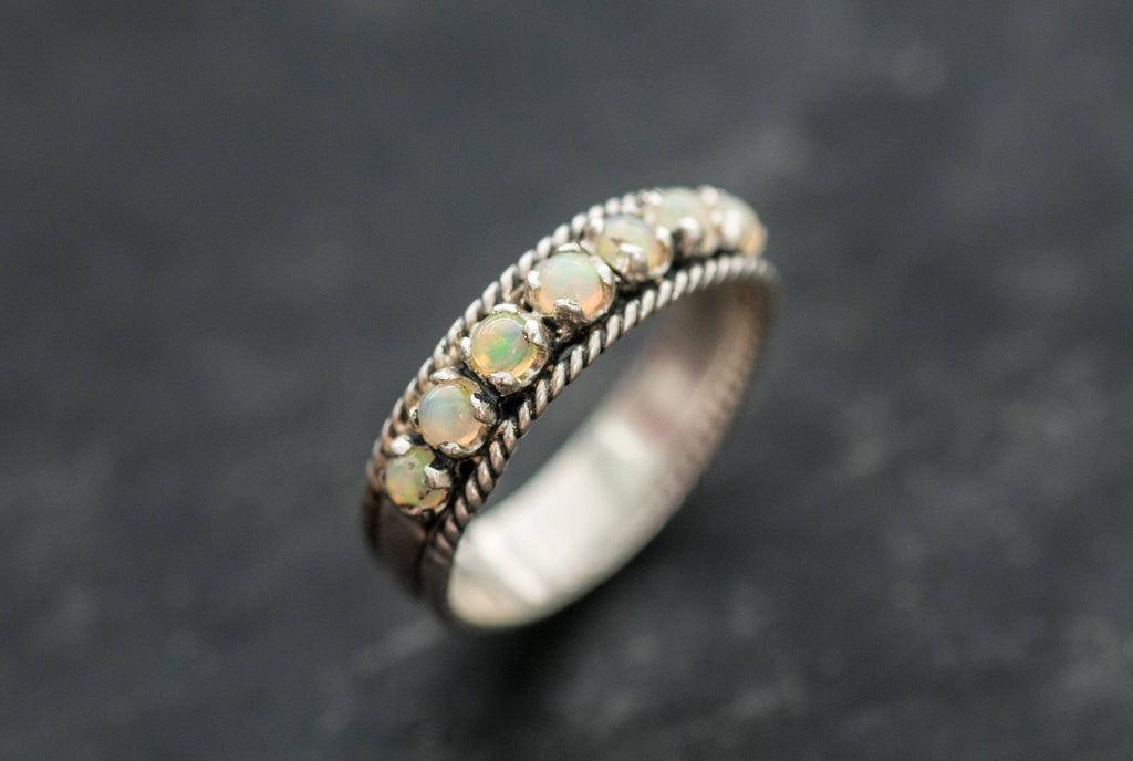 Opal Band, Natural Opal, Opal Eternity Ring, Opal Ring, Half Eternity Ring, October Birthstone, Vintage Band, Solid Silver Ring, Opal