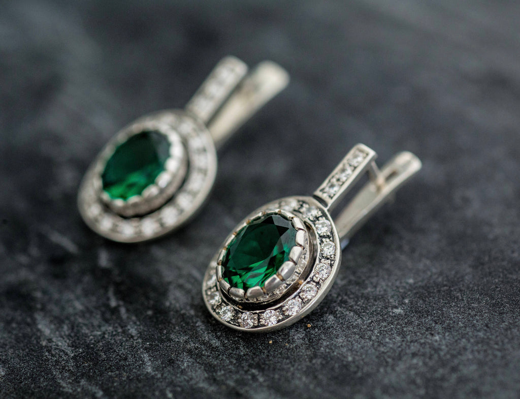 Emerald Earrings, Created Emerald, Antique Earrings, Vintage Earrings, Antique Emerald Earrings, Silver Earrings, Green Vintage Earrings