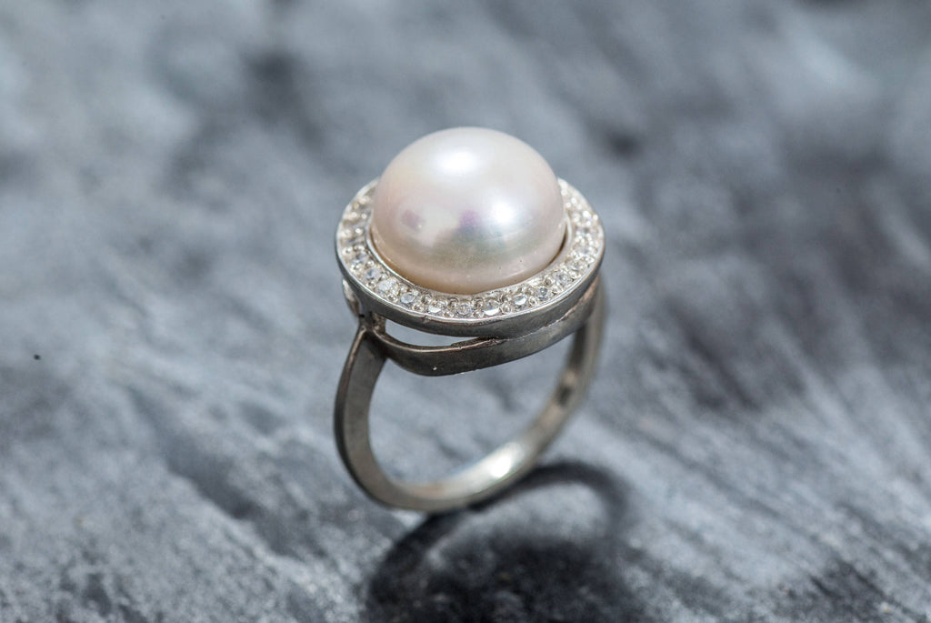 June Birthstone Ring Size 7 Ring Pearl Statement Ring Large Pearl Engagement Ring Sterling Silver Pearl Ring