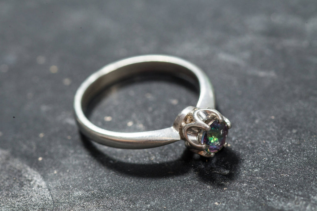 Mystic Topaz Ring, Natural Mystic Topaz, December Birthstone, Rainbow Diamond, Promise Ring, December Ring, Vintage Rings, Solid Silver Ring