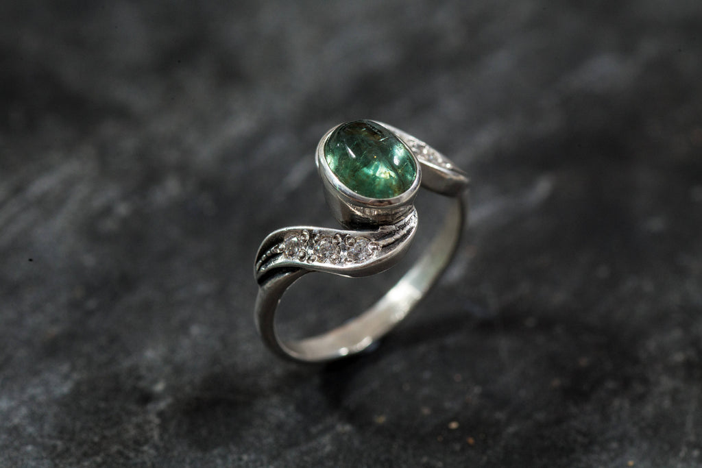 Tourmaline Ring, Green Tourmaline, Vintage Ring, Natural Tourmaline, October Birthstone, Birthstone Ring, Solid Silver, Real Tourmaline
