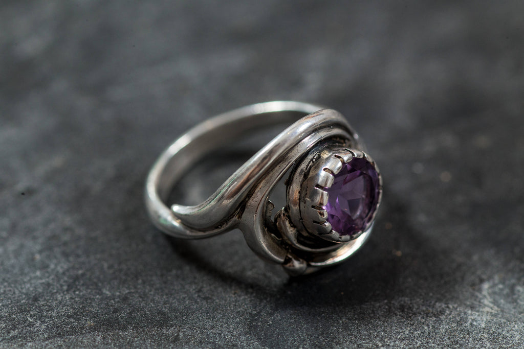 Amethyst Ring, Natural Amethyst, Vintage Ring, Purple Ring, February Birthstone, February Ring, Silver Ring, Amethyst