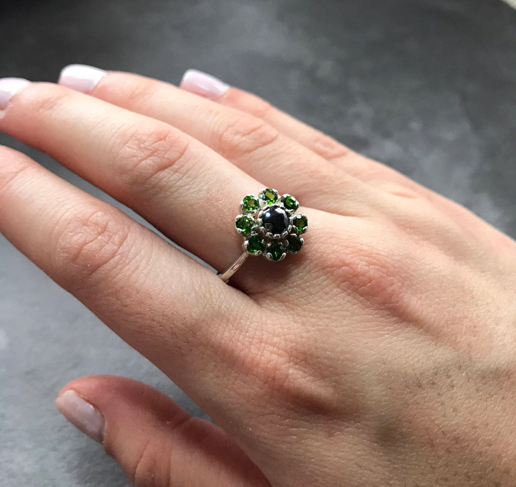 Hematite Ring, Chrome Diopside Ring, Natural Stones, Emerald Green Ring, Emerald Green Stones, Chrome Diopside, Hematite, Vintage Ring
