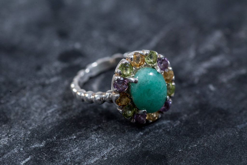 Emerald Ring, Natural Emerald, Topaz Ring, Vintage Emerald Ring, Vintage Ring, Antique Ring, Natural Topaz, May Birthstone, Pure Silver