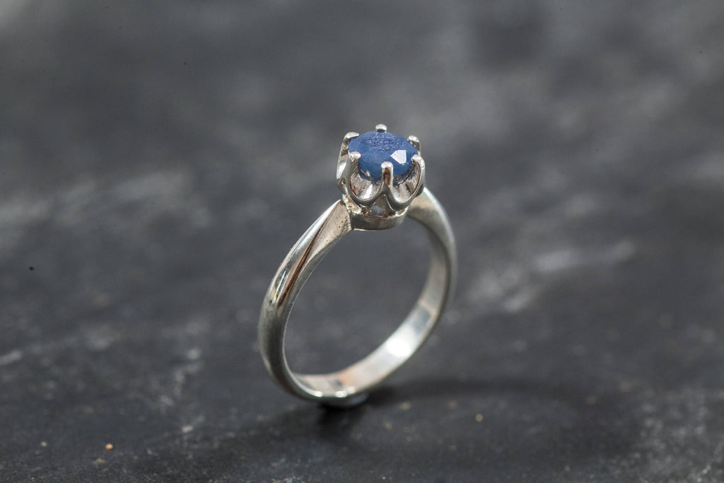 Real Sapphire Ring, Natural Sapphire, Promise Ring, Genuine Sapphire, September Birthstone, Blue Ring, Silver Promise Ring, Vintage Rings