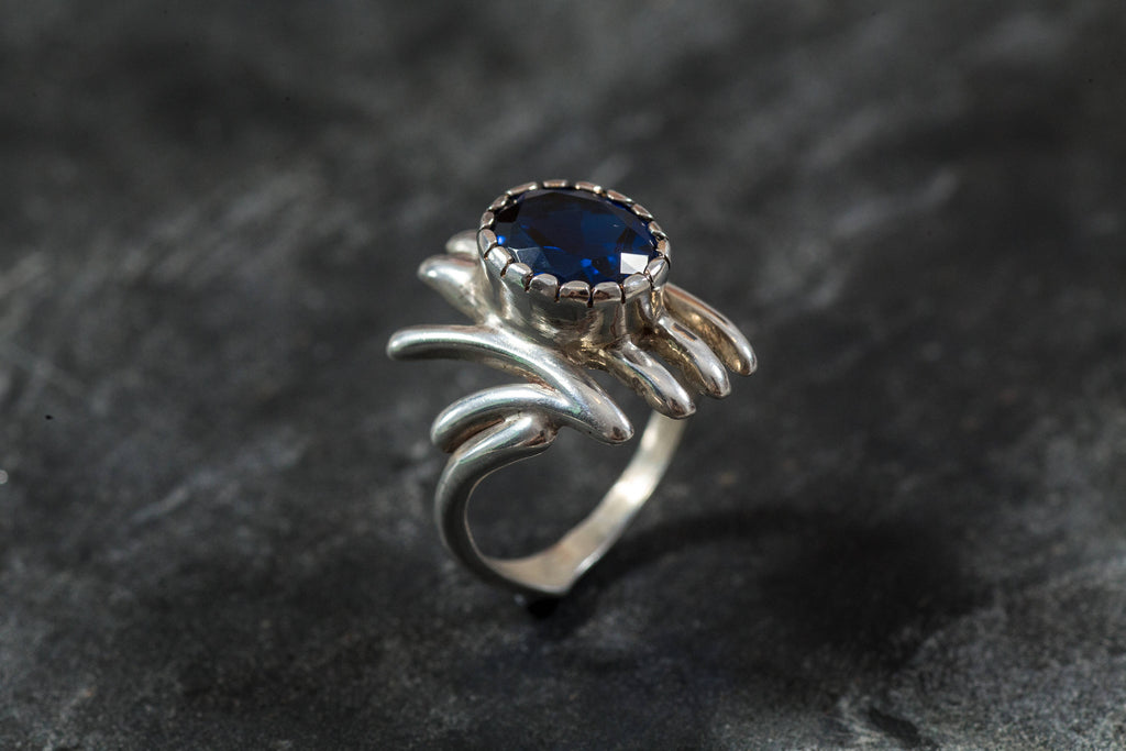 Unique Sapphire Ring, Blue Sapphire Ring, Created Sapphire, Sapphire Ring, Silver Ring, Statement Ring, Blue Ring, Solid Silver Ring