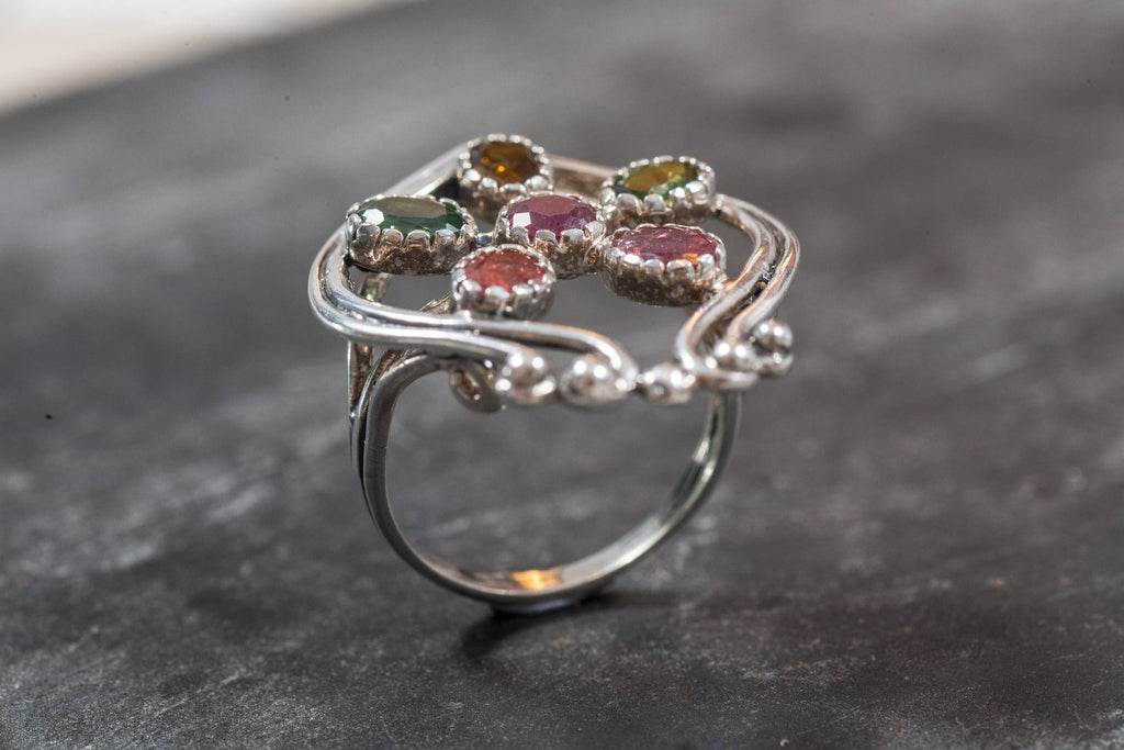 Natural Tourmaline Ring, Vintage Rings, Flower Ring, Yellow Tourmaline, Green Tourmaline, Pink Tourmaline, Ruby Ring, October Birthstone