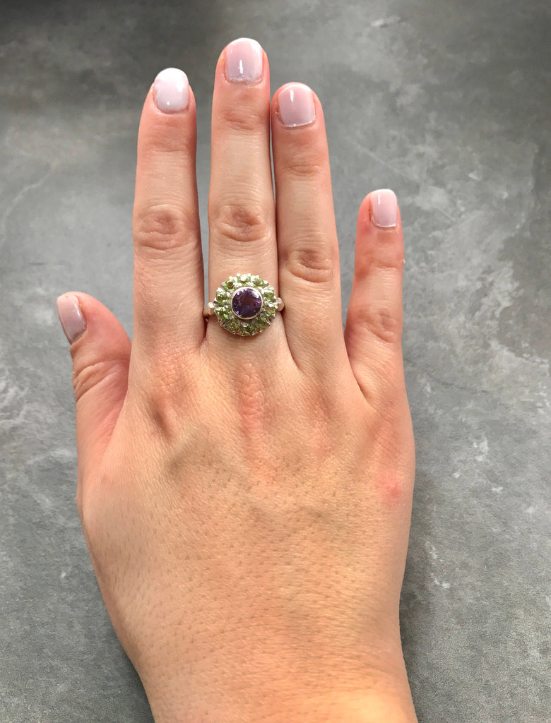 Amethyst Ring, Natural Amethyst, Peridot Ring, Natural Peridot Ring, February Birthstone, August Birthstone, Vintage Silver Ring, Victorian