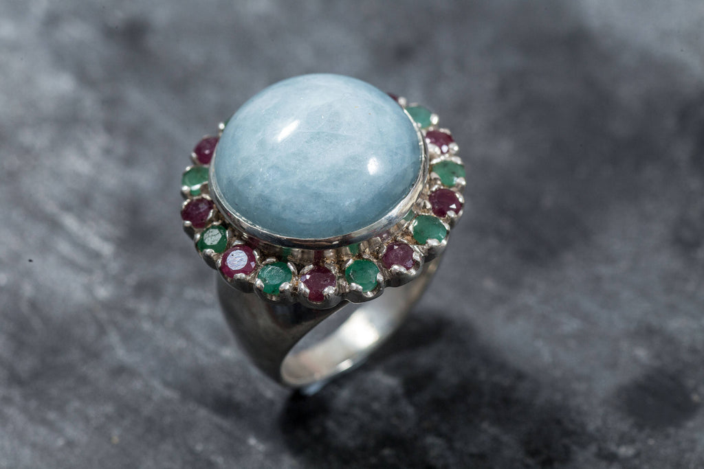 Aquamarine Ring, Natural Aquamarine, Emerald Ring, Ruby Ring, Large Aquamarine, March Birthstone Ring, May Birthstone Ring, July Birthstone