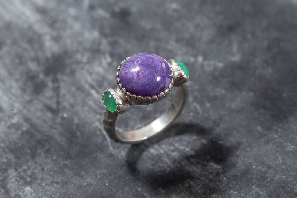 Charoite ring, Chrysoprase Ring, Natural Chrysoprase, Charoite Ring, Charoite, Purple Ring, Purple Stone, Vintage Ring, Purple Stone Ring