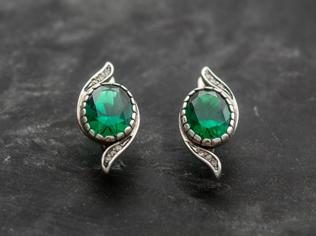 Emerald Earrings, Created Emerald, Antique Earrings, Vintage Earrings, Antique Earrings, Silver Earrings, Green Vintage Earrings, Emerald