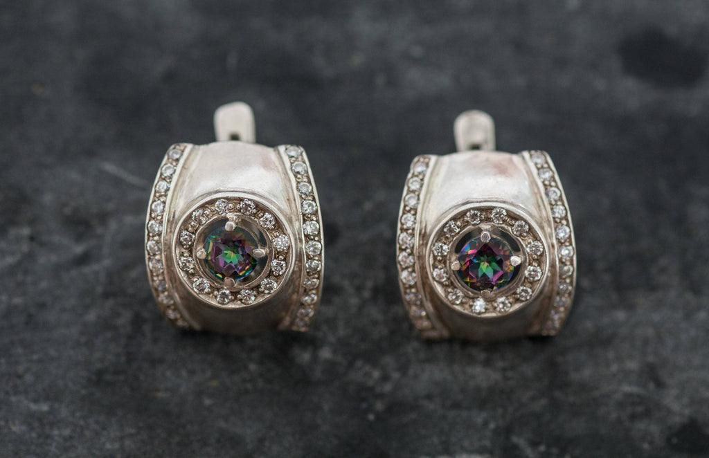 Mystic Topaz Earrings, Bezel Earrings, November Birthstone, Vintage Earrings, Wide Earrings, Natural Topaz, Birthstone Earrings,Mystic Topaz