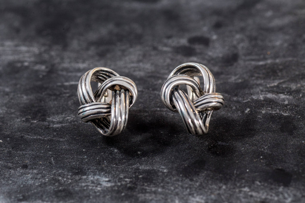 Silver Knot Earrings, Knot Earrings, Silver Earrings, Unique Art Earrings, Statement Earrings, Artistic Earrings, Sterling Silver