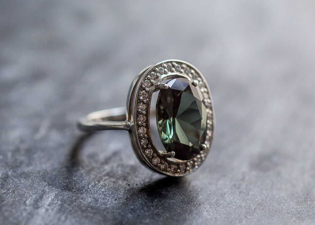 Green Diamond Ring, Created Diamond, Big Diamond Ring, Mint Diamond Ring, Vintage Silver Ring, Diamond Cut, Vintage Rings, Cooktail Ring