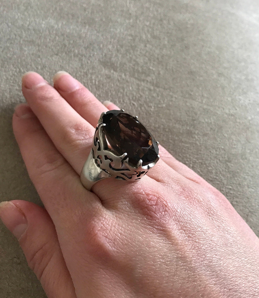 Smoky Topaz Ring, Huge Smoky Topaz, Natural Topaz, Large Statement Ring, Vintage Ring, Artistic Ring, Huge Ring, 30 Carats, Diamond Cut