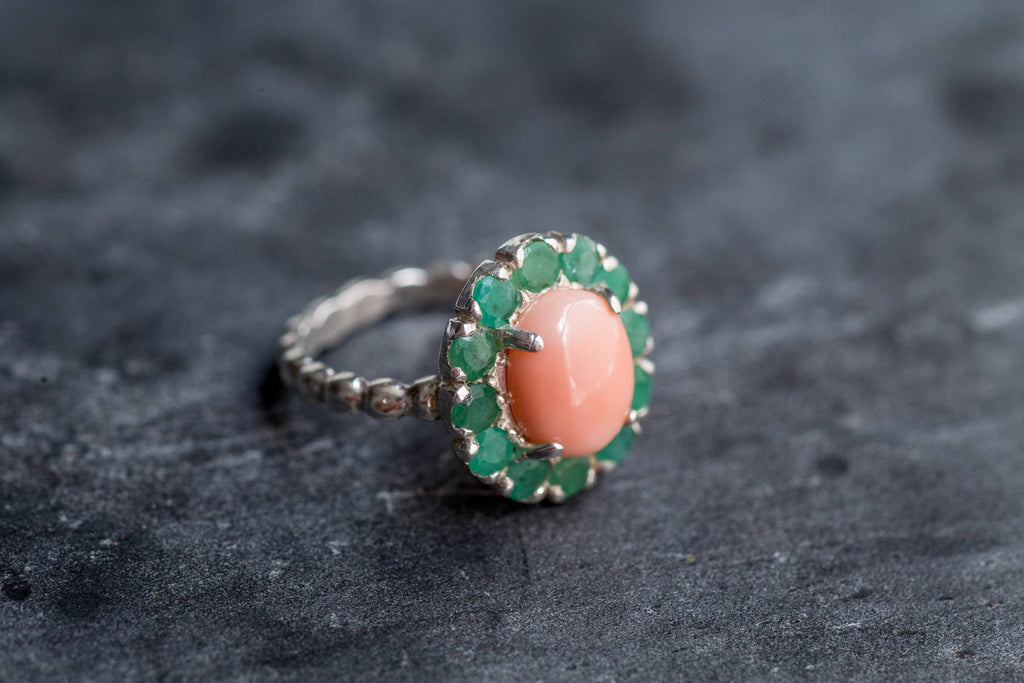 Coral Ring, Natural Coral, March Birthstone, Emerald Ring, Natural Emerald, May Birthstone, Victorian Ring, Angel Skin Coral, Solid Silver