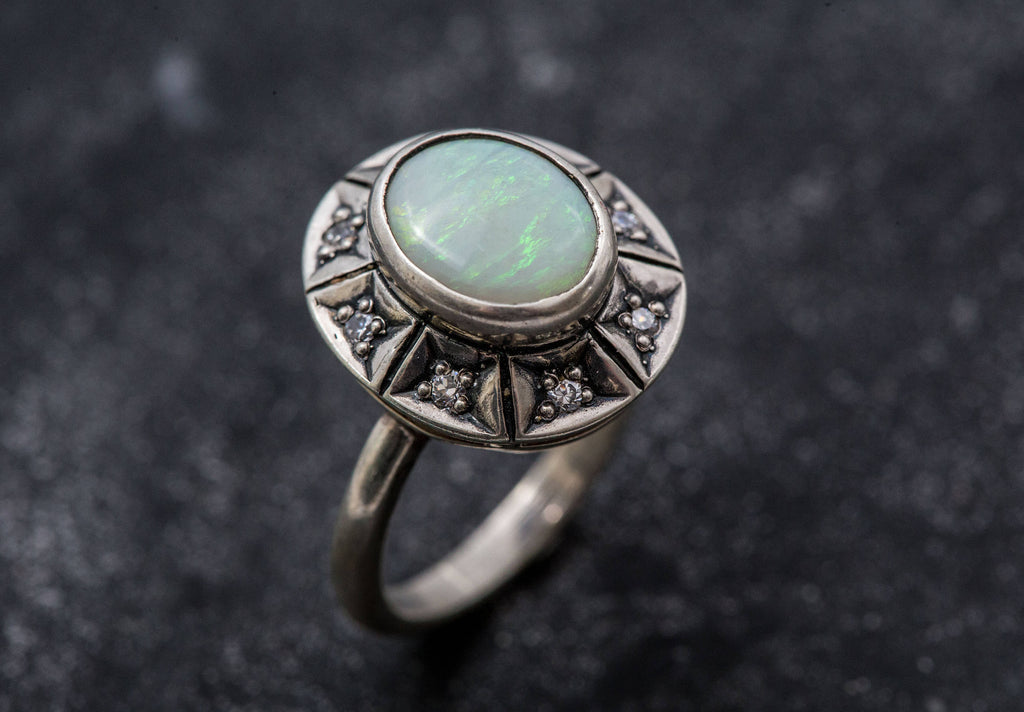 Opal Ring, Natural Opal, Australian Opal Ring, Tribal Ring, Vintage Rings, October Birthstone, Antique Opal, Rainbow Opal, Fire Opal, Opal