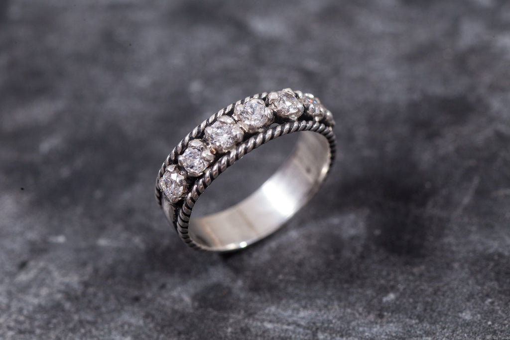 Half Eternity Ring, Diamond Ring, Created Diamond Ring, Promise Ring, Lab Diamond Ring, Vintag Rings, Eternity Band, Silver Ring, Diamond