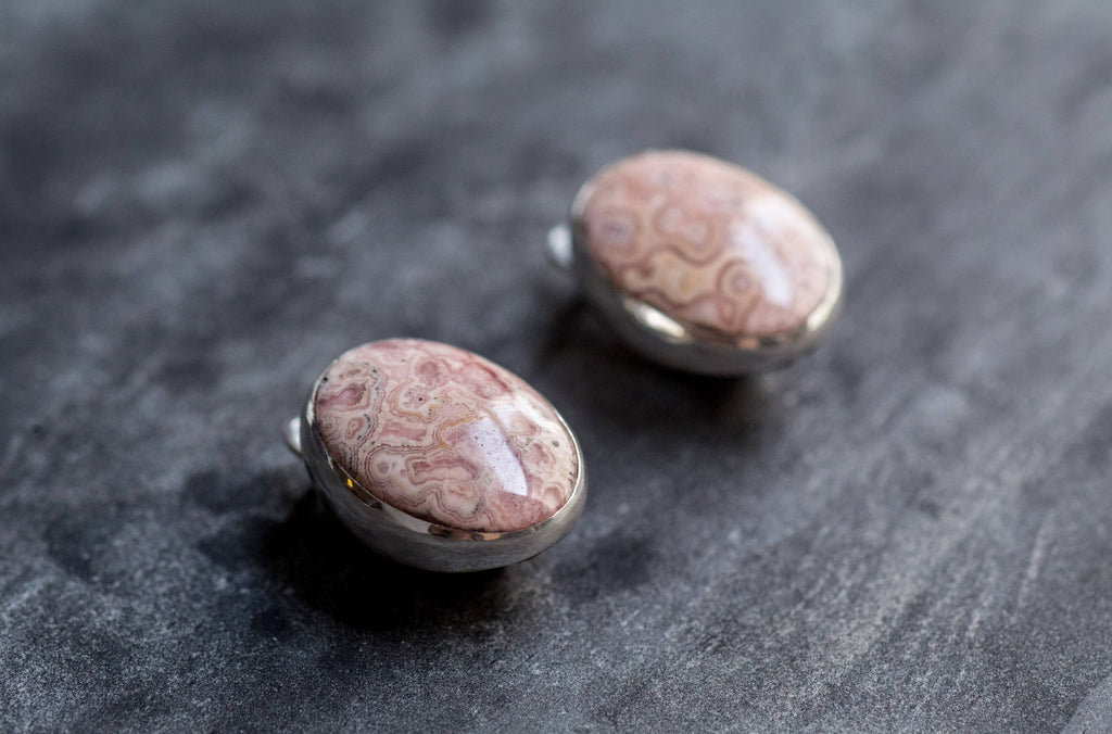 Rhodochrosite Earrings, Natural Stone, Vintage Earrings, Statement Earrings, Large Stone, Pink Earrings, Large Stud Earrings, Rhodochrosite