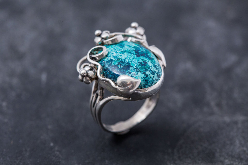 Blue Flower Ring, Chrysocolla Ring, Statement Ring, Vintage Blue Rings, Sagittarius Birthstone, Large Stone Ring, Silver Ring, Chrysocolla