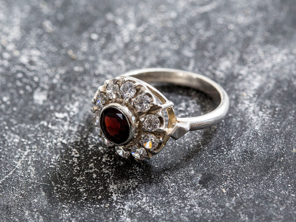 Garnet Ring, Natural Garnet, CZ Diamonds, Victorian Ring, January Birthstone, Vintage Ring, Vintage Garnet Ring, Vintage Silver Ring