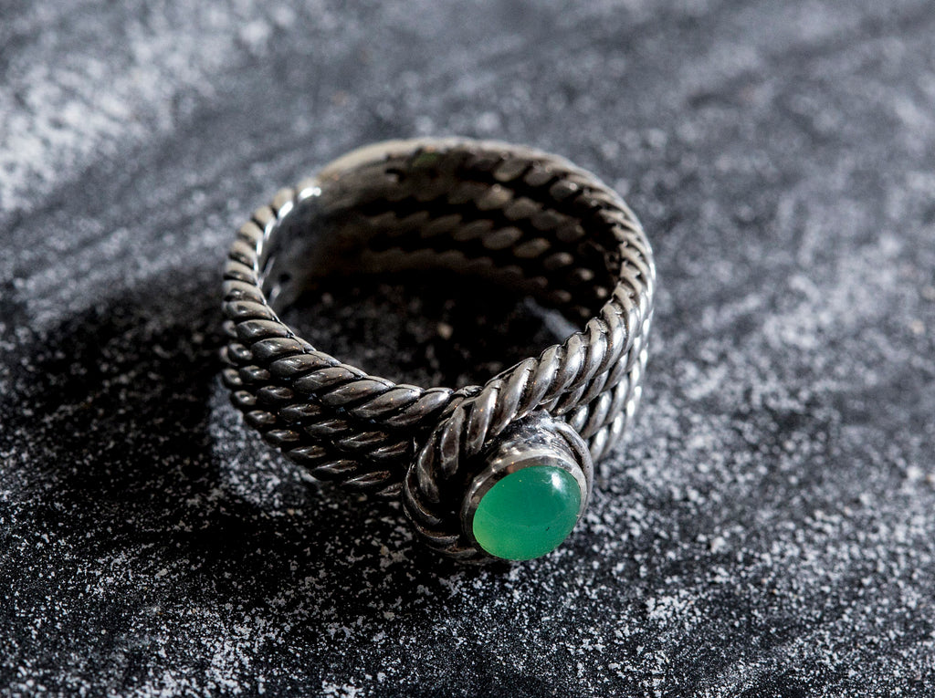 Silver Rope Ring, Chrysoprase Ring, Natural Chrysoprase, Thick Silver Ring, Wide Ring, Australian Chrysoprase, Vintage Ring, May Birthstone