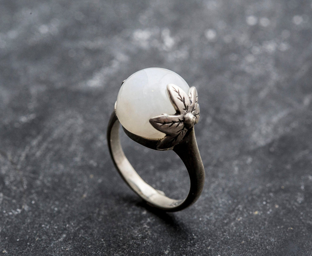 Leaf Ring, Moonstone Ring, June Birthstone Ring, Rainbow Moonstone, Flower Ring, Vintage Rings, Natural Moonstone, Solid Silver Ring, Grass