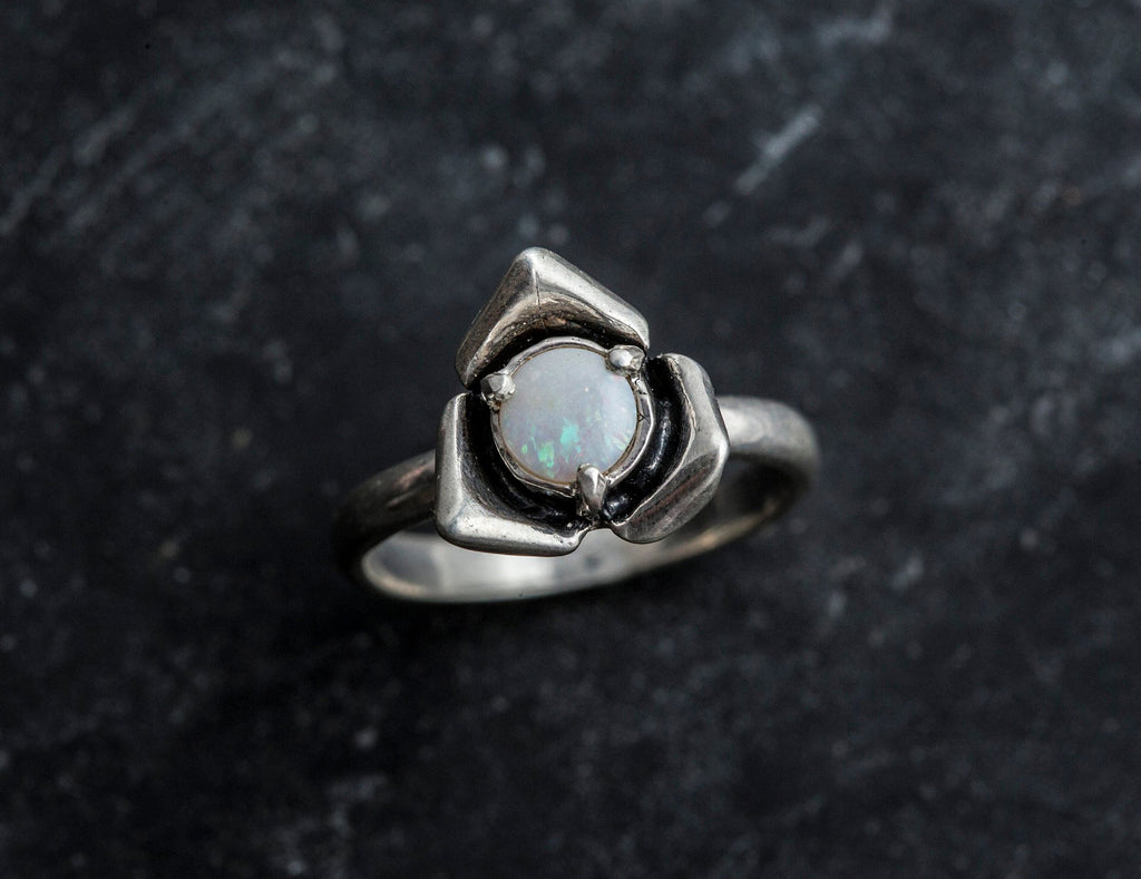 Opal Flower Ring, Natural Opal, Rose Ring, October Birthstone, October Ring, Australian Opal, Genuine Opal Ring, Silver Flower Ring, Opal