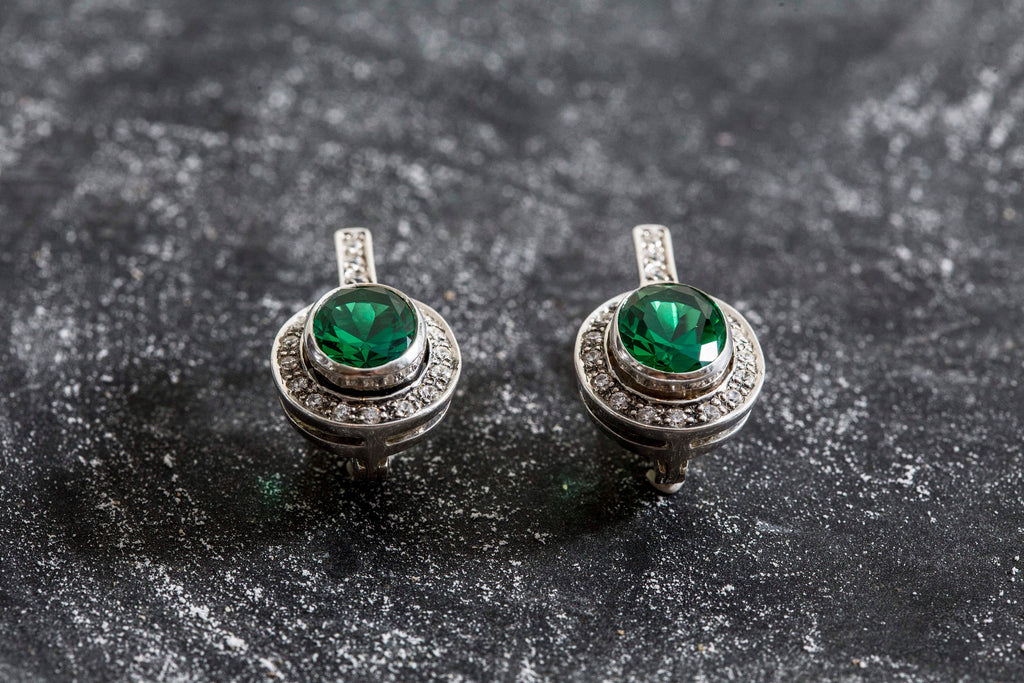 Emerald Earrings, Created Emerald, Emerald Green Earrings, Vintage Earrings, Antique Emerald Earrings, Silver Earrings, Green Earrings
