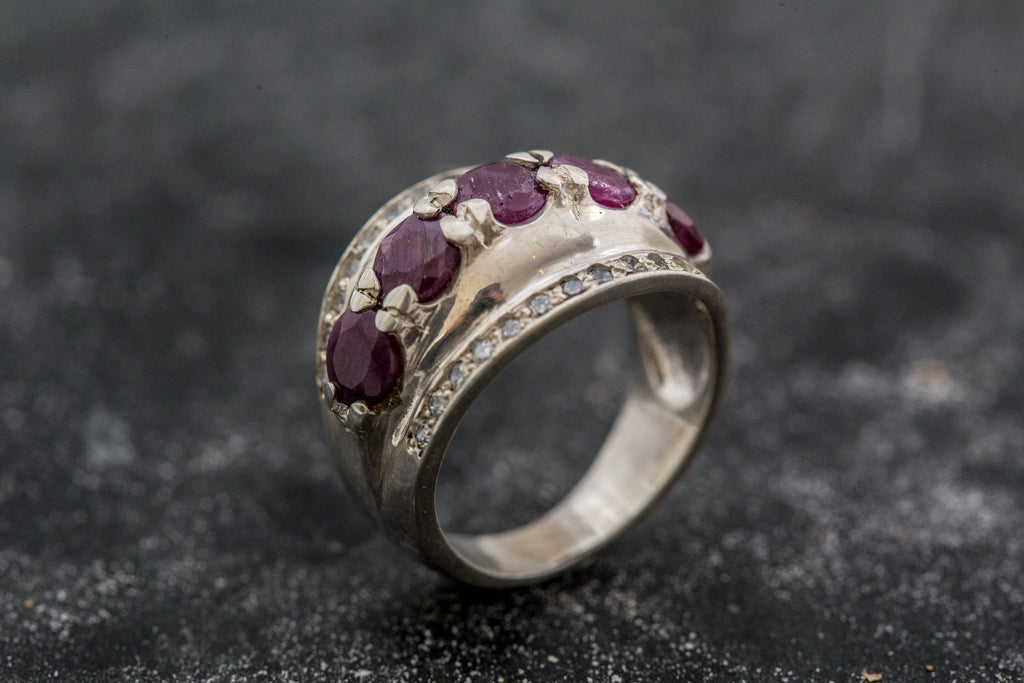 Vintage Ruby Ring, Natural Ruby Ring, July Birthstone, Ruby Ring, Statement Ring, Unique Rings, CZ Diamonds, Vintage Silver Rings, Red Ring