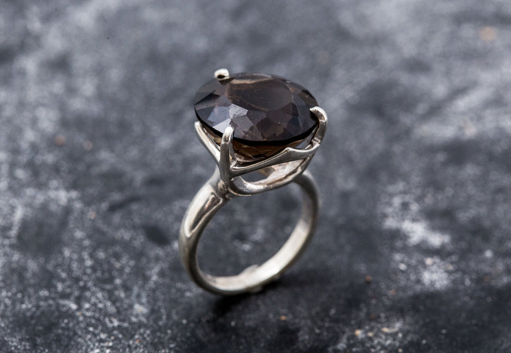 Smoky Topaz Ring, Natural Topaz, Big Stone Ring, Promise Ring, Solid Silver Ring, Diamond Cut, Sterling Silver Ring, Natural Stone