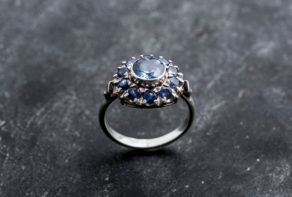 Sapphire Flower Ring, Blue Sapphire Ring, Created Sapphire, Flower Ring, Vintage Ring, Vintage Rings, Blue Flower Ring, Solid Silver Ring