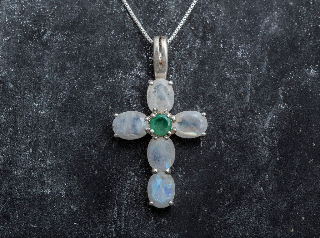 Cross Pendant, Moonstone Pendant, Silver Cross Pendant, Unique Cross, Natural Emerald, Statement Pendant, Rainbow Moonstone, June Birthstone