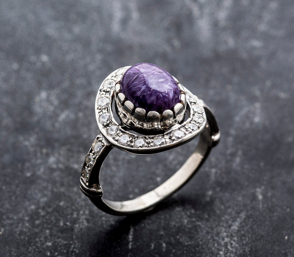 Charoite Ring, Natural Charoite, Vintage Ring, Scorpio Birthstone, Purple Ring, Purple Charoite, Solid Silver Ring, Vintage Rings, Charoite