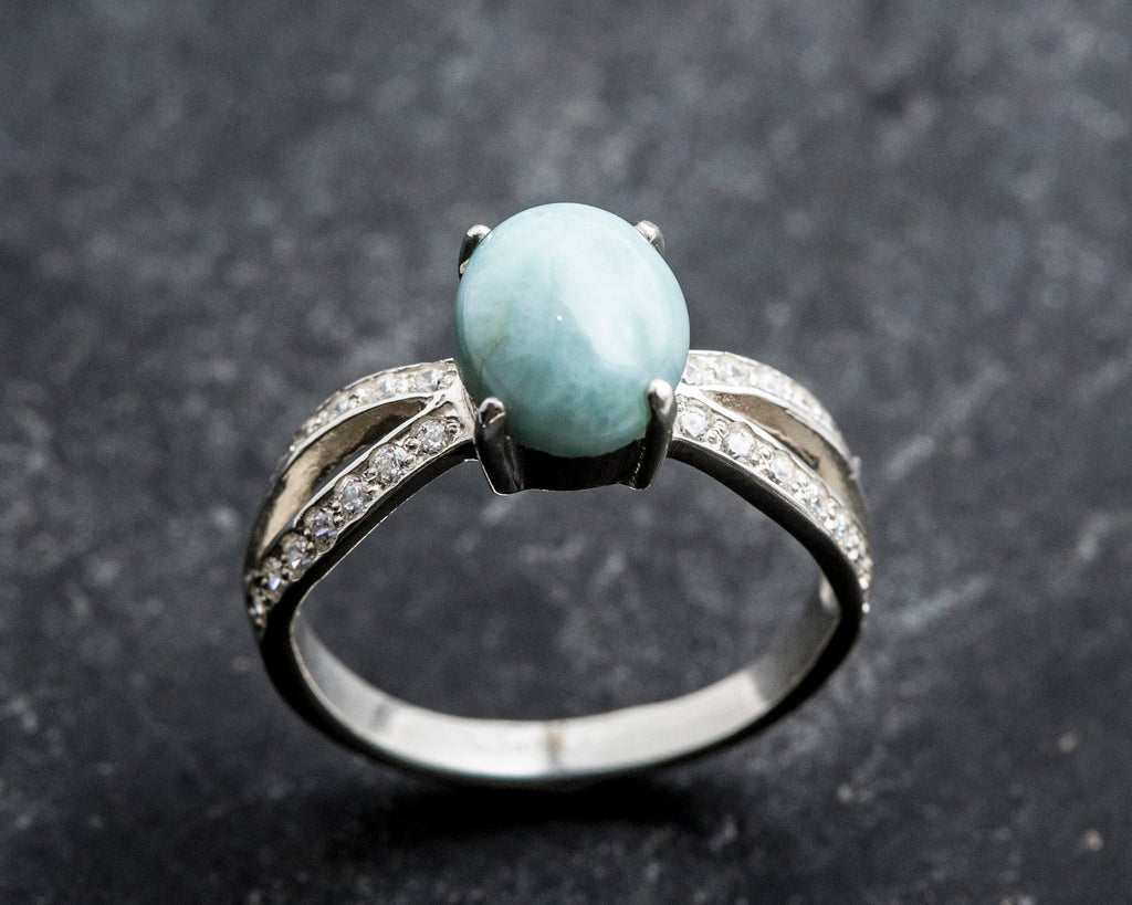Larimar Ring, March Birthstone, Natural Larimar, Vintage Ring, March Ring, Jewel of Atlantis, Solid Silver Ring, Silver Promise Ring, larima