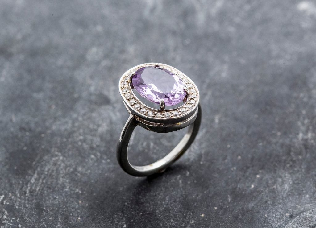 Large Amethyst Ring, Natural Amethyst, Vintage Ring, Purple Ring, February Birthstone, February Ring, Solid Silver Ring, Large Amethyst