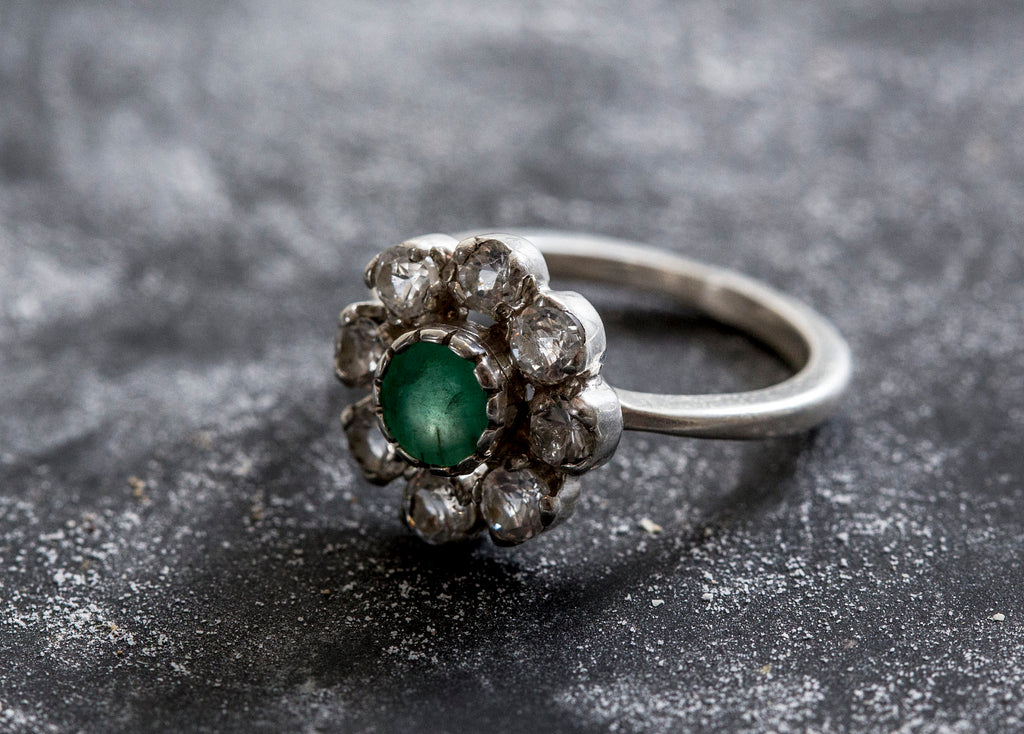 Emerald Flower Ring, White Topaz Ring, Natural Emerald, May Birthstone, Vintage Rings, Vintage Ring, Natural Stones Ring, Silver Flower Ring