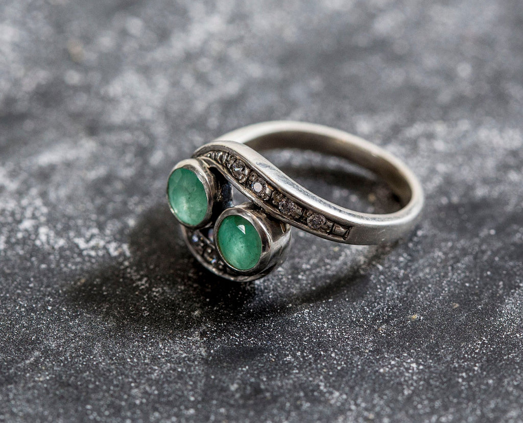 Unique Vintage Ring, Natural Emerald Ring, Emerald Ring, 2 Stones Ring, Statement Ring, May Birthstone Ring, Silver Ring, Vintage Rings