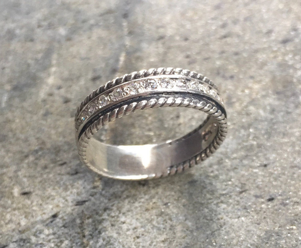 Diamond Band, CZ Diamonds, Eternity Ring, Diamond Eternity Ring, Promise Ring, Vintage Band, Vintage Wedding Band, Solid Silver, Silver Band