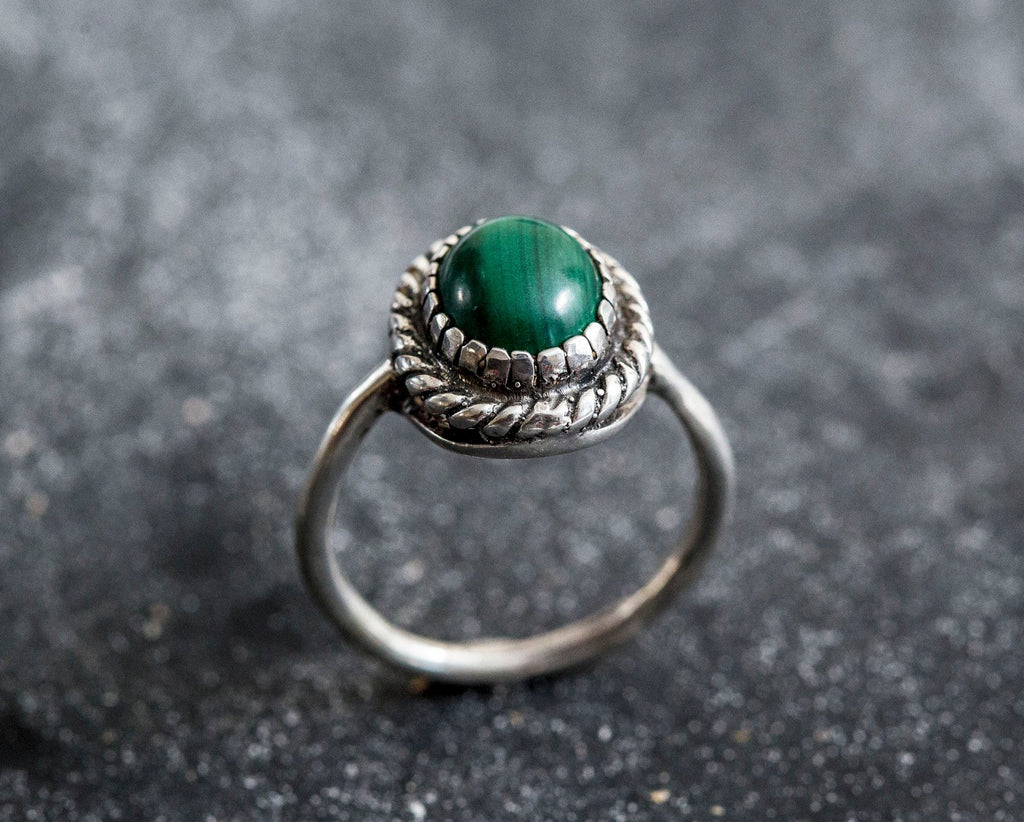 Malachite Ring, Natural Malachite Ring, Vintage Rings, Green Malachite, 3 Carat Stone, Green Ring, Silver Ring, Real Malachite, Green