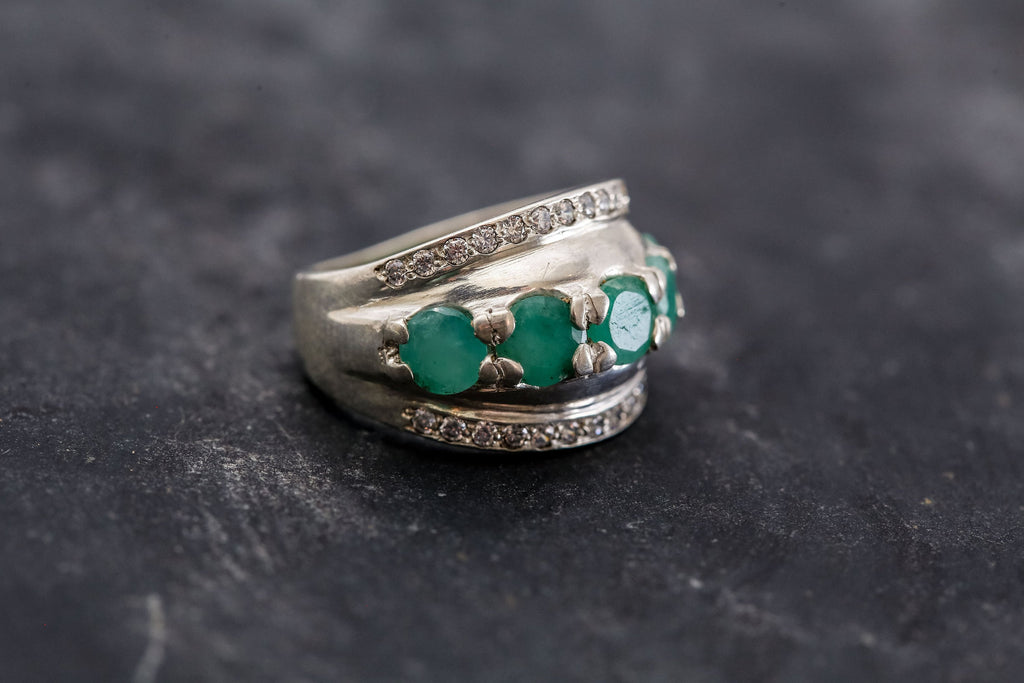 Vintage Emerald Ring, Unique Ring, Natural Emerald Ring, May Birthstone Ring, Real Emerald Ring, Vintage Silver Ring, Genuine Emerald