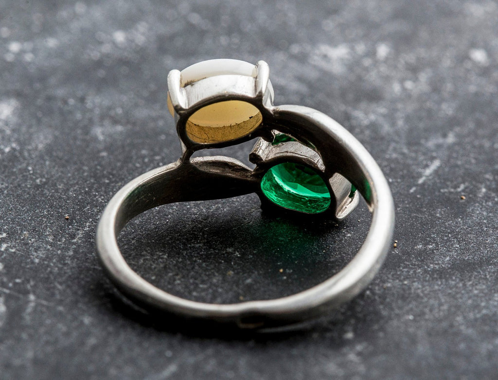 Opal Ring Vintage Rings Created Emerald Australian Opal Ring Opal Solid Silver Ring October Birthstone Natural Opal Emerald Ring