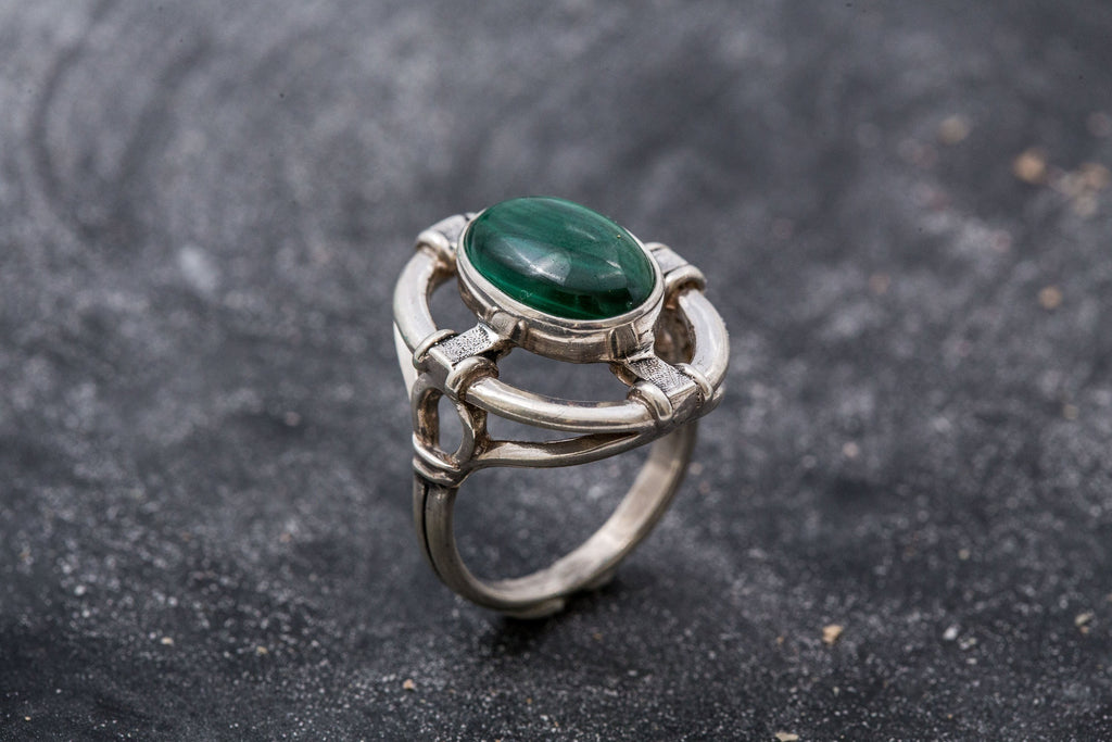 Vintage Malachite Ring, Natural Malachite, Statement Ring, Natural Stone, Unique Rings, Green Ring, 6 Carat Ring, Green Malachite, Malachite