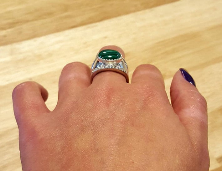 Malachite Ring, Natural Malachite Ring, Vintage Rings, Green Malachite, 6 Carat Ring, Bazel Ring, Wide Band Ring, Solid Silver, Malachite