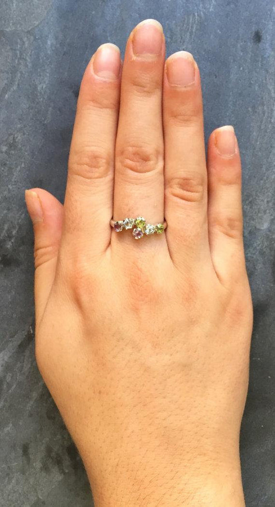 Emerald Ring, Natural Emerald Ring, Natural Ruby Ring, Promise Ring, Vintage Ring, May Birthstone, July Birthstone, Solid Silver