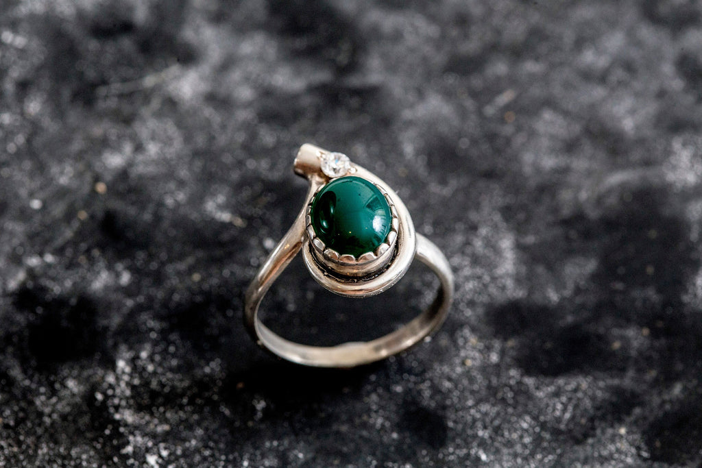 Emerald Ring, Antique Ring, Created Emerald, Vintage Ring, Antique Emerald Ring, Antique Rings, Sterling Silver Ring, Green Vintage Ring